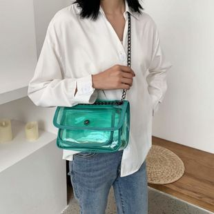 Bolsa transparente de PVC de verano nueva bolsa simple bolsa de gelatina impermeable mensajero de hombro bolsa cuadrada pequeña bolsa de color caramelo nihaojewelry al por mayor NHGA216849's discount tags