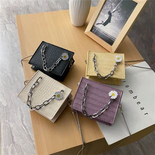 new Korean spring all-match crocodile pattern mini handbag  style solid color chain daisy shoulder messenger bag nihaojewelry wholesale NHPB216894's discount tags