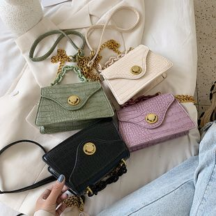 new summer chain portable trapezoidal bag simple wild crocodile pattern solid color lock single shoulder crossbody bag nihaojewelry wholesale NHPB216895's discount tags