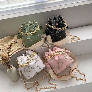 summer new fashion lace lock bucket bag female chain mobile phone bag tide small fresh shoulder messenger bag nihaojewelry wholesale NHPB216909's discount tags