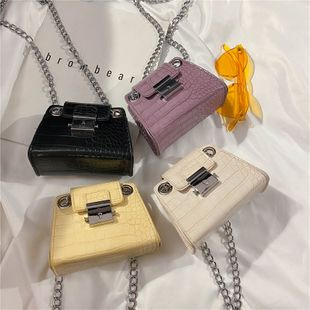 Summer new fashion crocodile pattern mini coin purse women wholesale nihaojewelry chain lock single shoulder crossbody bag NHPB216918's discount tags