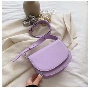 new retro fashion  solid color new texture small bag saddle bag wild  shoulder messenger bag wholesale NHTC216939's discount tags