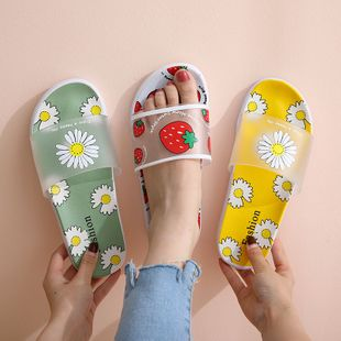 korean fashion new cute Strawberry chrysanthemum slippers  summer wear  tide anti-skid  fruit sandals and slippers wholesale NHAT216809's discount tags