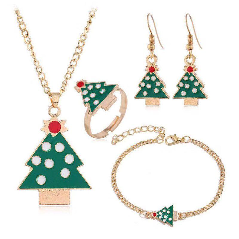 fashion metal Christmas jewelry set fourpiece set necklace earring ring bracelet set wholesale NHSC217286