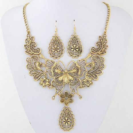 fashion metal hollow butterfly drop temperament necklace earring set wholesale NHSC217017's discount tags