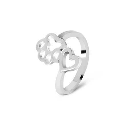 fashion hollow out love dog paw ring small animal cat paw print ring unisex ring wholesale NHMO217031's discount tags
