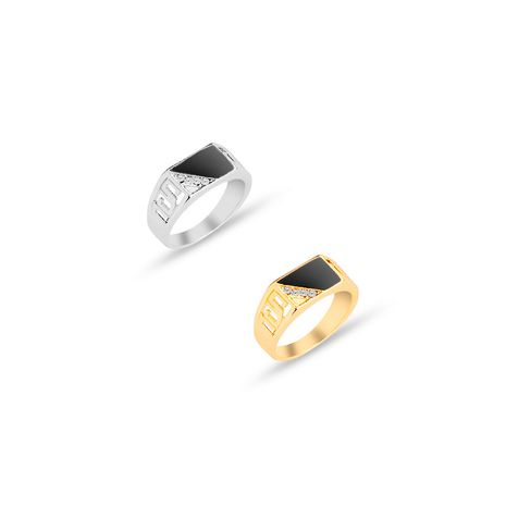 creative diamond-trapped trapezoidal oil drop men's ring simple personality ring accessories NHMO217051's discount tags