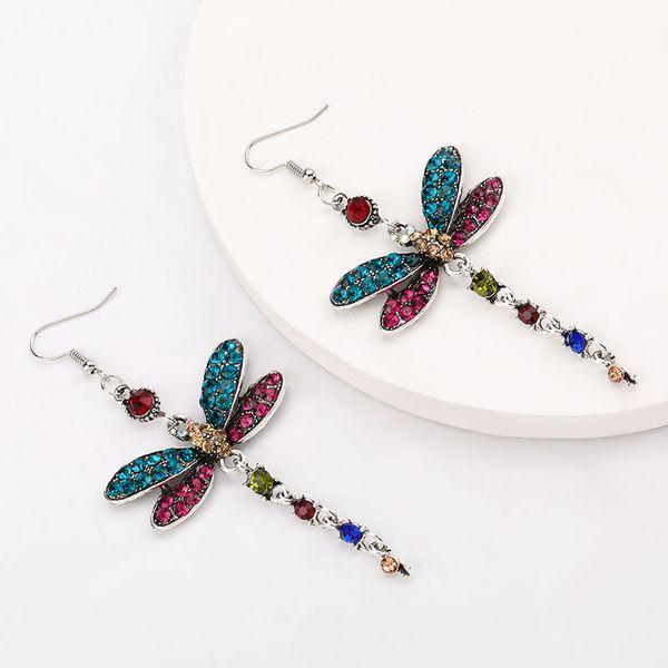 Korean small fresh earrings fashion creative rhinestone diamond earrings dragonfly earrings animal earrings wholesale NHJE217063