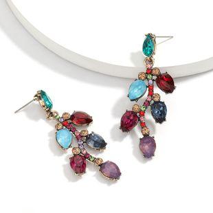 personality wild alloy diamond rhinestone full diamond leaf earrings trend earrings wholesale NHJE217067's discount tags