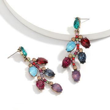 personality wild alloy diamond rhinestone full diamond leaf earrings trend earrings wholesale NHJE217067