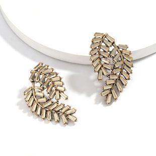 new creative rhinestone diamond multi-layer leaf earrings retro ear jewelry NHJE217068's discount tags
