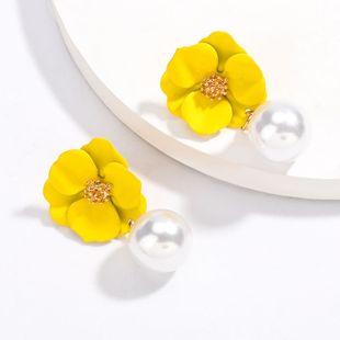 alloy spray paint flower imitation pearl earrings S925 silver needle earrings wind earrings NHJE217066's discount tags