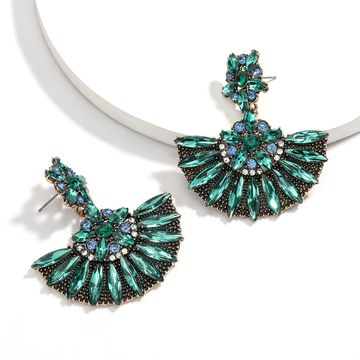 Exaggerated alloy diamond-set rhinestone full diamond earrings retro ethnic style earrings wholesale NHJE217069