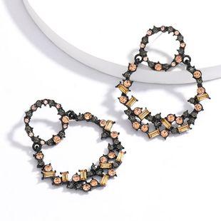 simple  multi-layer round alloy rhinestone diamond geometric earrings tide retro earrings wind NHJE217071's discount tags
