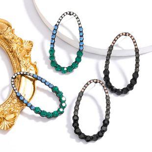 Fashion minimalist style earrings oval alloy diamond-set rhinestone full diamond geometric earrings  NHJE217072's discount tags