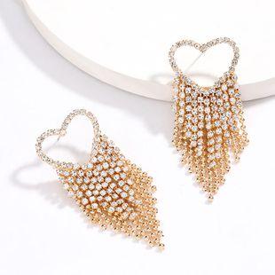 Fashion shot love heart-shaped alloy rhinestone diamond tassel earrings super flash earrings street beat NHJE217074's discount tags