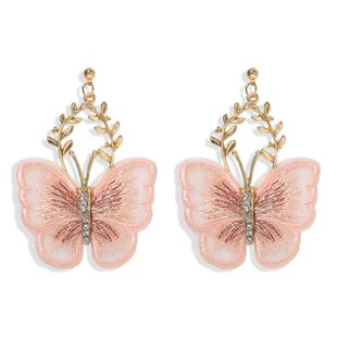 Super Fairy Embroidery Transparent Gradient Yarn Butterfly Ear Stud Earrings Hot Selling earrings Wholesale NHJQ217076's discount tags