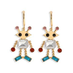 new wild temperament building blocks cartoon characters diamond pendant alloy earrings hot wholesale NHJQ217078's discount tags