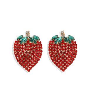 Korean earrings fashion of cute style diamond fruit strawberry earrings hotc sale jewelry wholesale NHJQ217079's discount tags
