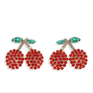 Korean cute style fresh diamond fruit cherry earrings Korean earrings hot jewelry wholesale NHJQ217080's discount tags