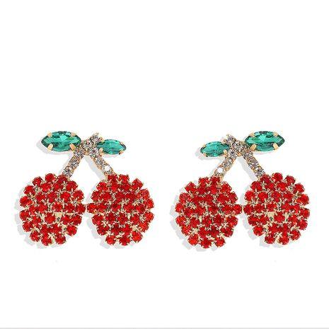 Boucles d'oreilles de cerise de fruits frais de diamant de style mignon coréen Boucles d'oreilles coréennes en gros de bijoux chauds NHJQ217080's discount tags
