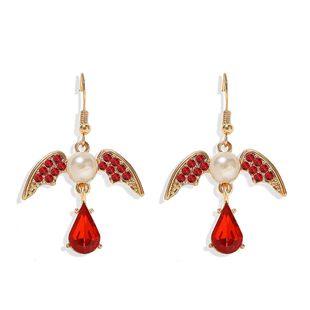 Fashion retro street beat ear hook women multicolor swallow wings inlaid pearl earrings hot selling jewelry NHJQ217081's discount tags