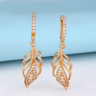 Korean earrings women new leaf earrings fashion temperament thin zircon leaf earrings earrings  NHAS217089's discount tags