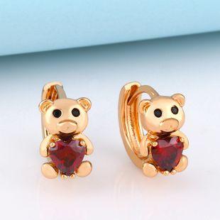 cute bear zircon earrings temperament Korean personality creative earrings girl heart earrings  NHAS217093's discount tags