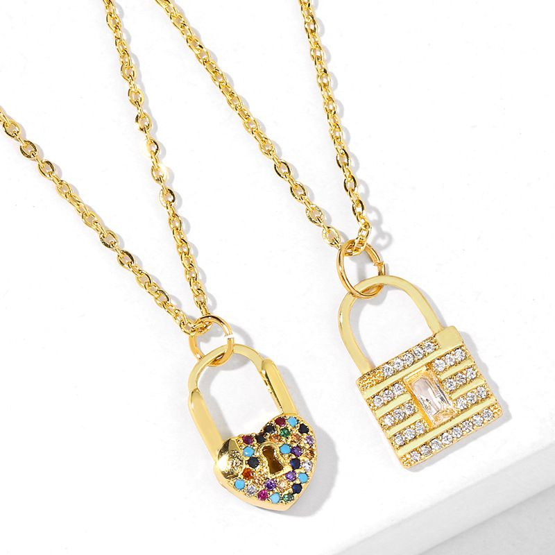 new peach heart key pendant necklace inlaid color zircon heart key necklace wholesale NHAS217099