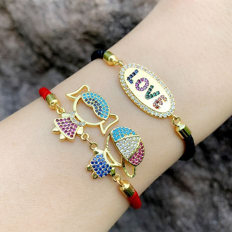 couples bracelet inlaid with color diamond love red rope bracelet NHAS217101's discount tags
