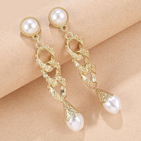 creative palace style long alloy earrings fashion hollow metal ring pearl pendant earrings NHMD217105's discount tags