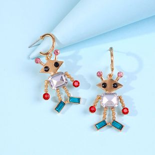 personality creative robot earring accessories fashion alloy colored diamond astronaut earrings wholesale NHMD217106's discount tags