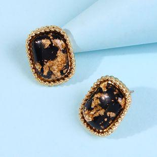 Korean fashion commute gemstone earrings Korean simple geometric square glass diamond earrings NHMD217107's discount tags
