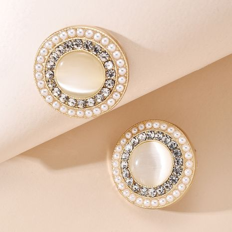 Korean fashion temperament ancient style pearl earrings geometric round square diamond simple earling wholesale NHMD217108's discount tags