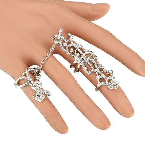 Fashion Siamese Bracelet Ring Integrated Personality Flower Hollow Full Diamond Joint Rose Flower Adjustable NHGY217114's discount tags