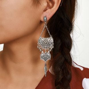 trend long earrings simple retro bell earrings carved tassel jewelry daily wild accessories wholesale NHGY217123's discount tags
