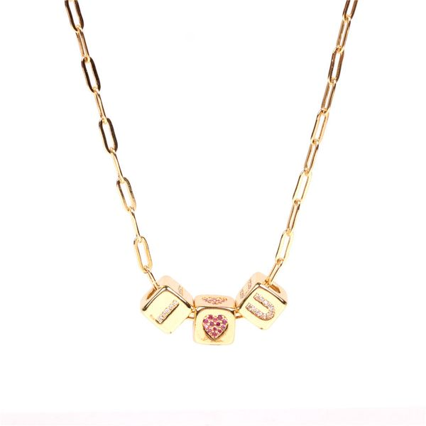 alphabet necklace new hip-hop style English diamond love dice pendant thick chain necklace cross-border selection NHPY217126
