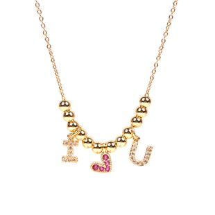 new inlaid zircon red love necklace female love letter short necklace NHPY217130's discount tags