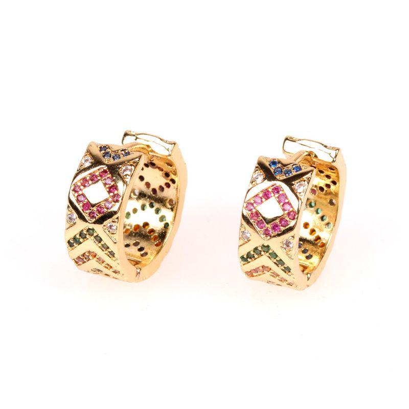 new simple C-shaped earrings color zircon earrings earrings supply wholesale NHPY217134