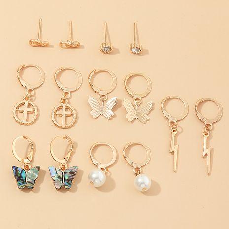 niche design multi-éléments foudre croix coquille d'ormeau petit papillon boucles d'oreilles ensemble NHNZ217144's discount tags