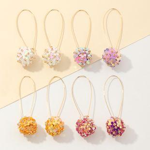 Niche elegant hand-made sequins flower ear hook earrings super fairy temperament wild earrings NHNZ217145's discount tags