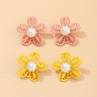 Fashion jewelry new simple flowers pearl earrings chrysanthemum drop oil earrings girl fresh NHNZ217150's discount tags