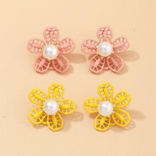 Fashion jewelry new simple flowers pearl earrings chrysanthemum drop oil earrings girl fresh NHNZ217150's discount tags