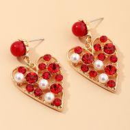 Fashion jewelry temperament super flash love earrings high-grade diamond peach heart earrings NHNZ217151