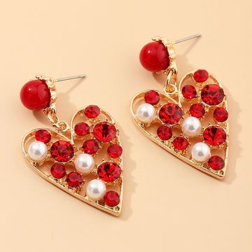 Fashion jewelry temperament super flash love earrings high-grade diamond peach heart earrings NHNZ217151