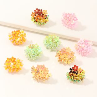 Fashion jewelry new shiny colorful sequins flower ball earrings personalized wild earrings NHNZ217153's discount tags