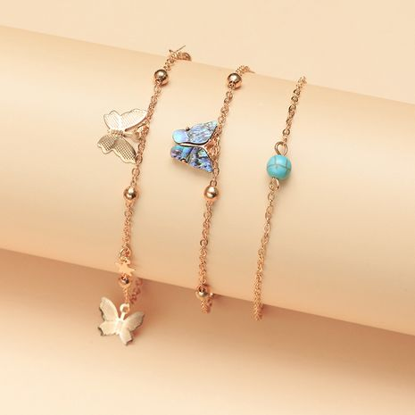 jewelry wholesale temperament butterfly anklet natural abalone shell turquoise foot ornaments wholesale NHNZ217154's discount tags