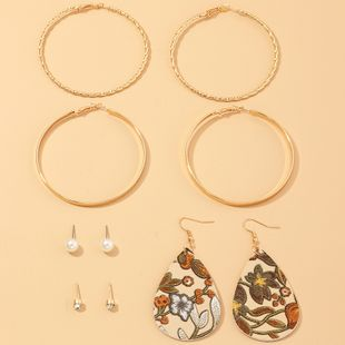 Fashion jewelry personality wild geometric C-shaped earrings multi-element leather earrings set NHNZ217157's discount tags