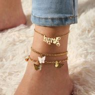 jewelry personality multi-layer letters Angel footwear temperament pink butterfly anklet wholesale NHNZ217161