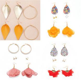 multi-element earrings PU flowers butterfly earrings temperament mesh yarn flowers pearl earrings NHNZ217163's discount tags